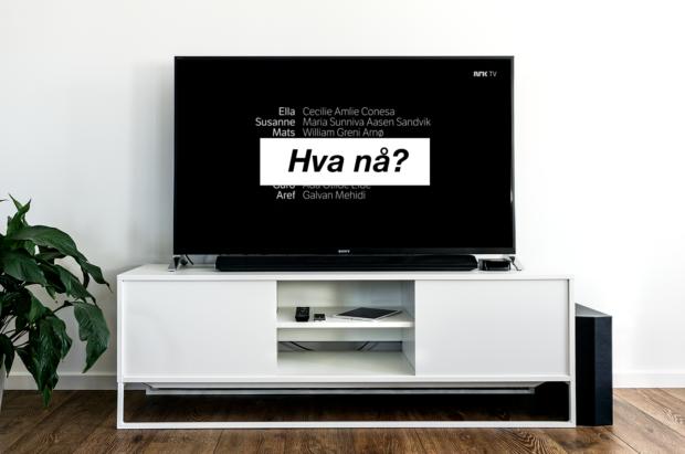 """TV med rulletekst og spørsmålet """"Hva nå?"""""""